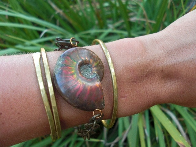 Ammonite Fossil Bangle by Bella Beach