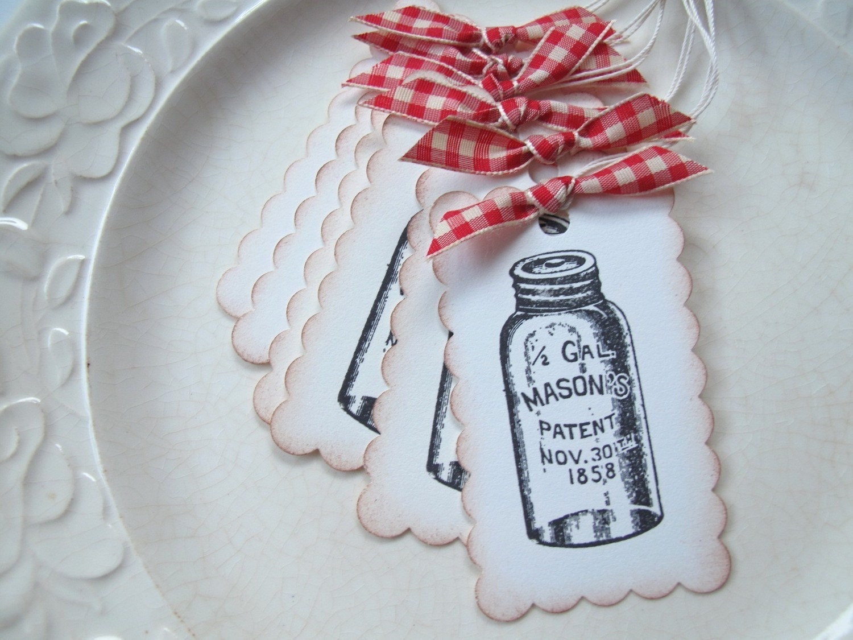 Gift Tags - Mason Jar and Red Gingham Ribbon