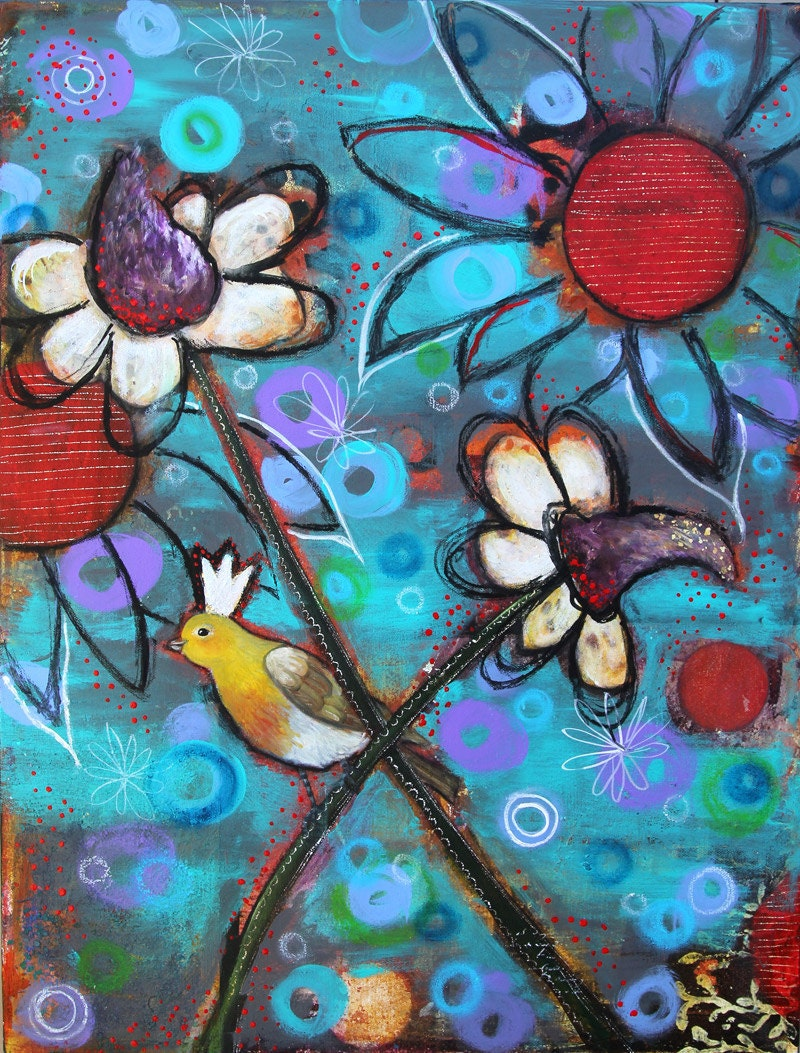 Be Happy - 18 x 24 , Original mixed media painting