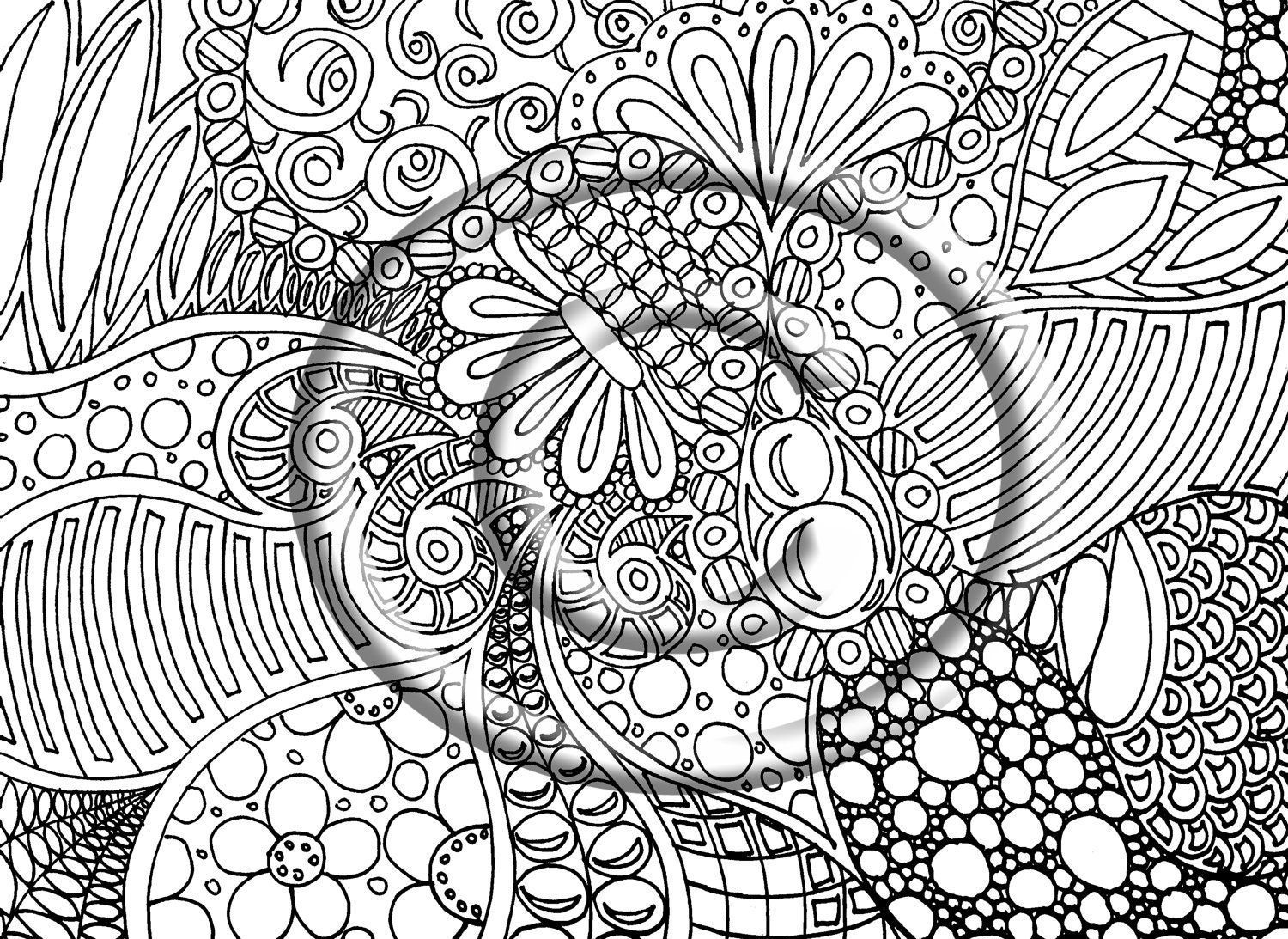 Instant pdf download coloring page hand drawn by for Zendoodle coloring pages