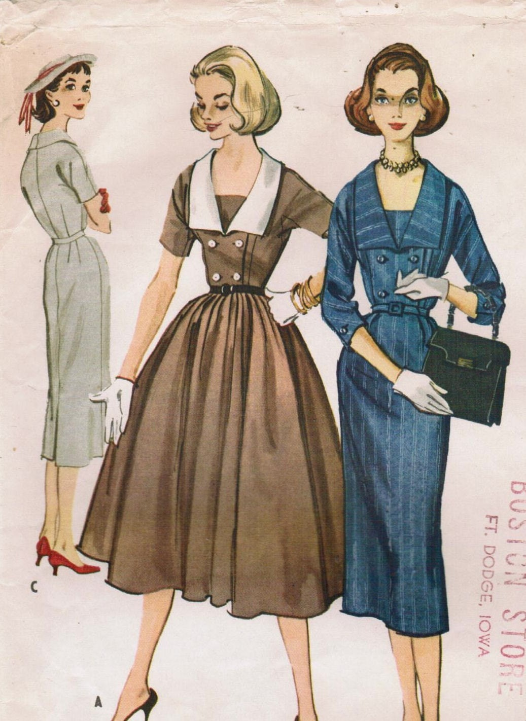 Vintage 1957 McCall's 4251 Sewing Pattern Misses' Dress Size 16 Bust 36