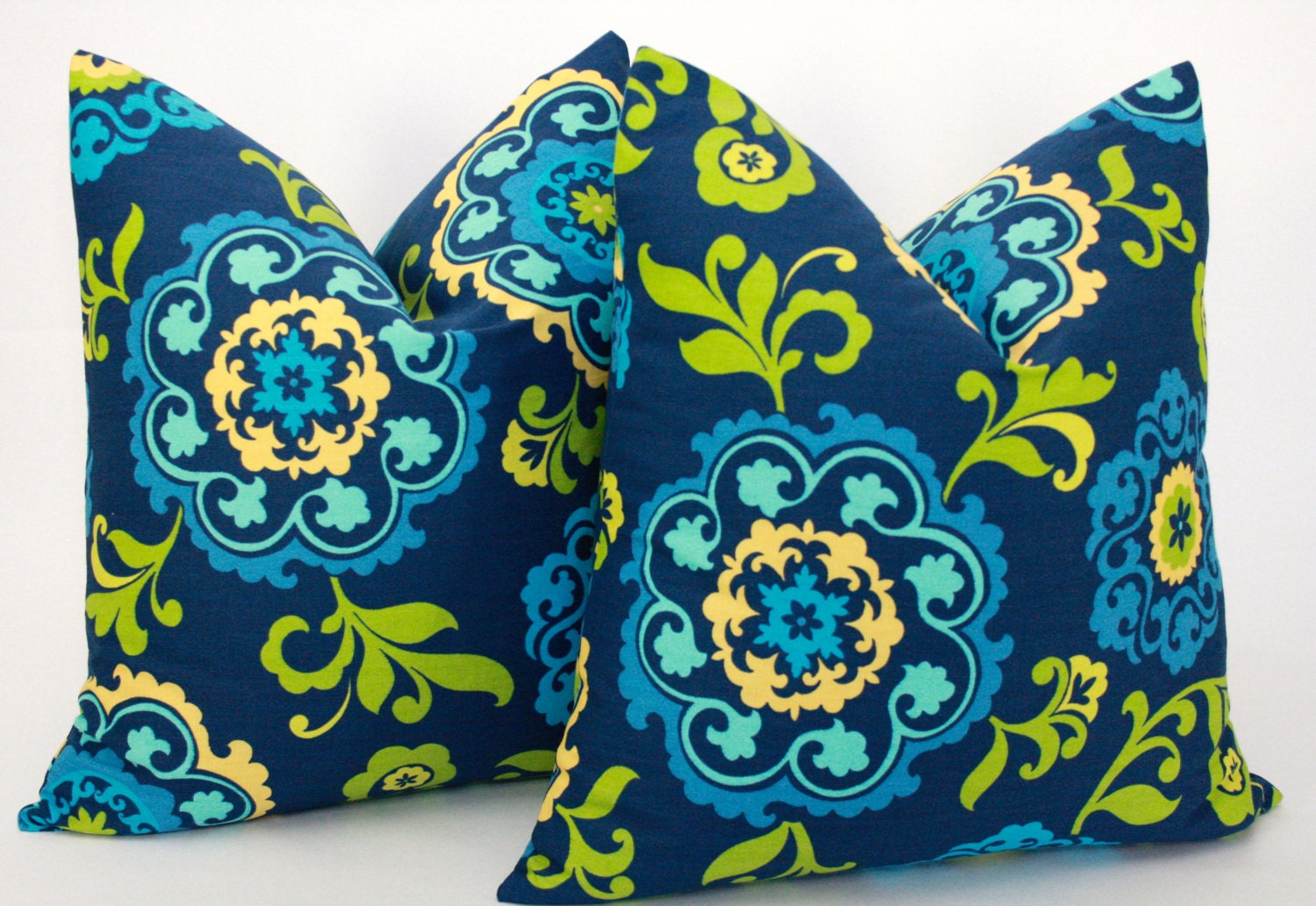 Navy Blue And Green Throw Pillows : Navy Blue and Lime Green Pillow Covers 20 x 20 inches by StyleItUp
