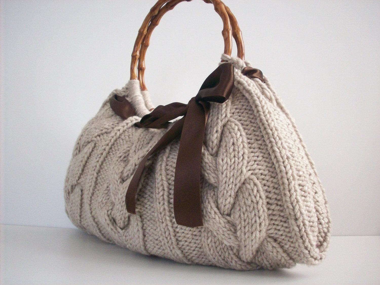 NzLbags Handmade - Handbag - Shoulder Bag - Everyday Bag-Beige Knitted Nr - 039