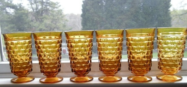 Set of 6 Fostoria American Amber Water Glasses/Tumblers