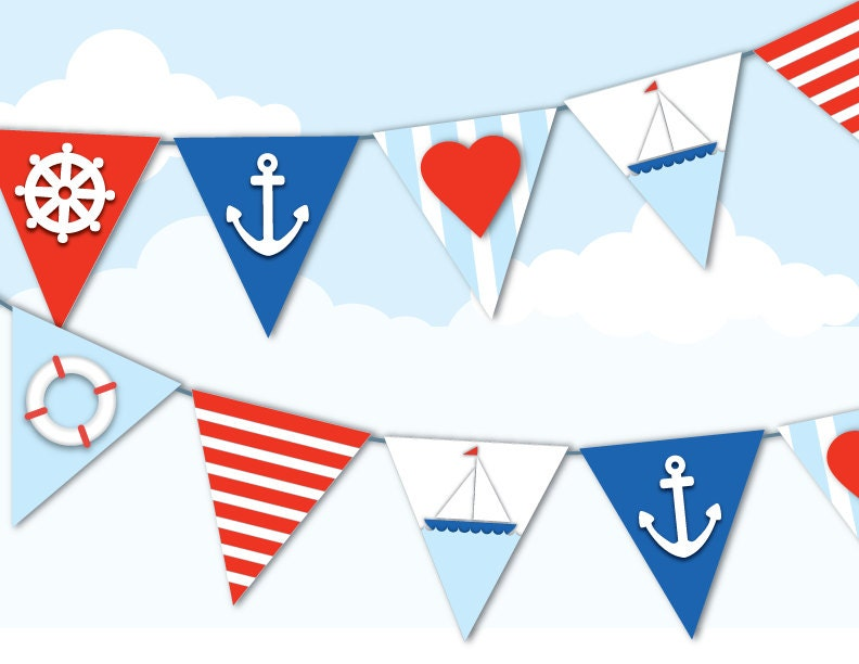 printable nautical bunting sailor navy red by paperscissorspop