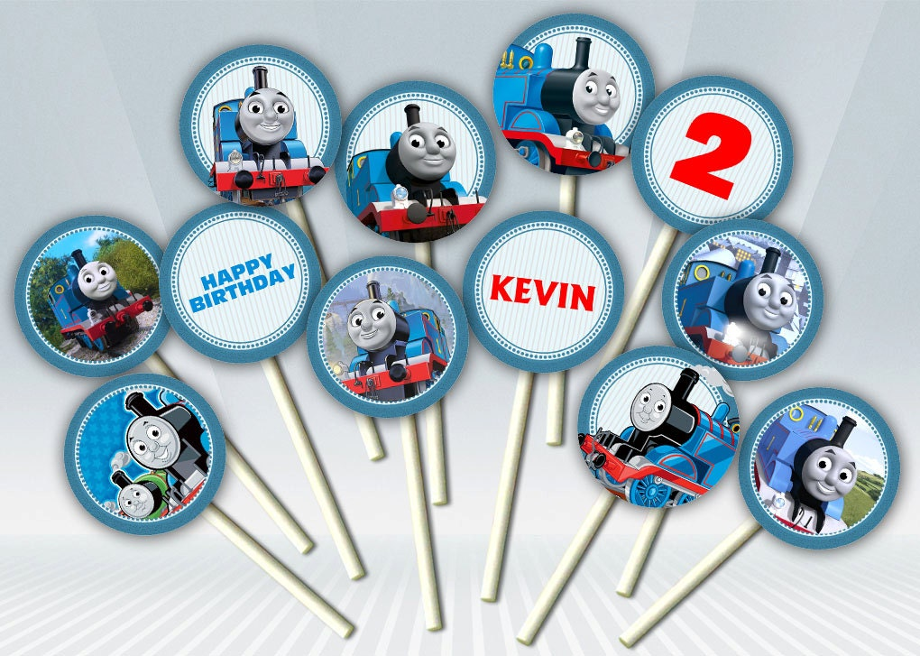 It is an image of Comprehensive Free Printable Thomas the Train Cup Cake Toppers