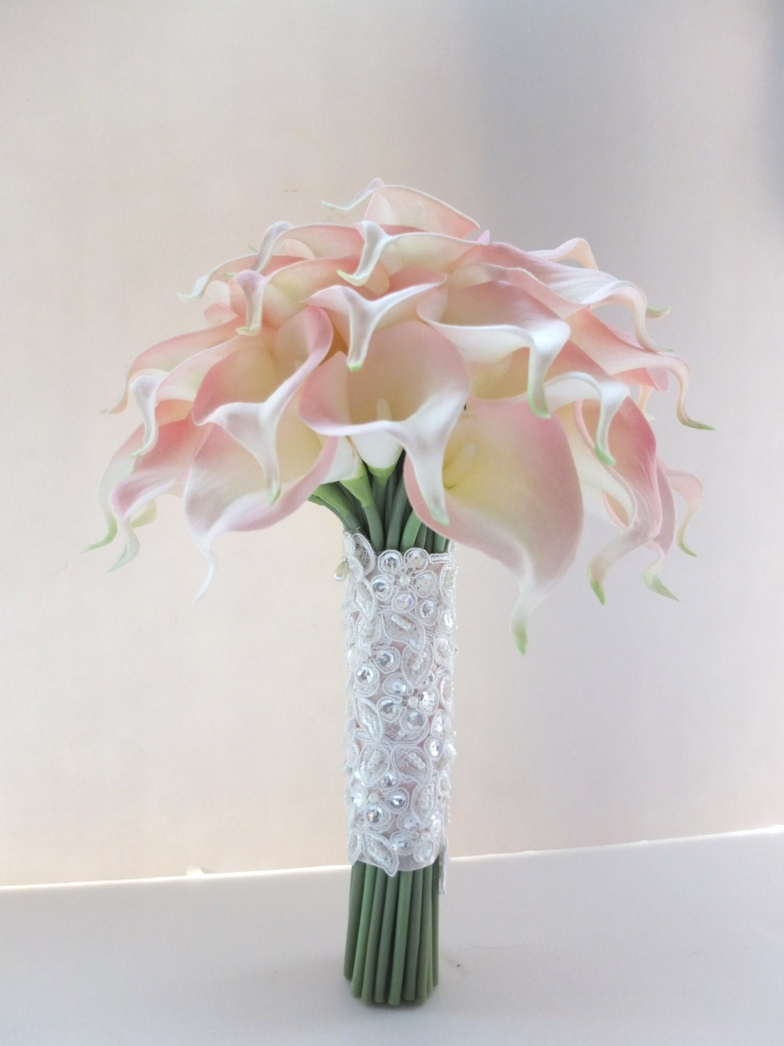 Blush pink calla lily bouquet bridal by
