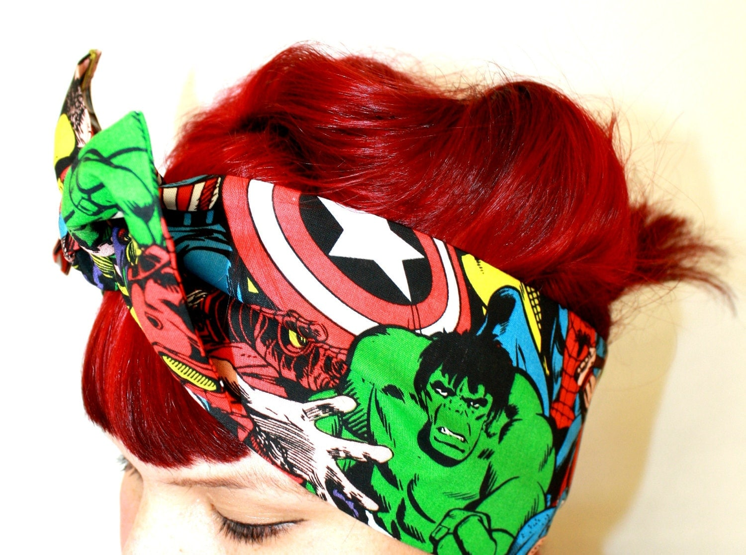 Bow hair tie,  Comic, The Avengers, The Hulk, Thor, Captain America, Iron Man, Spider Man,