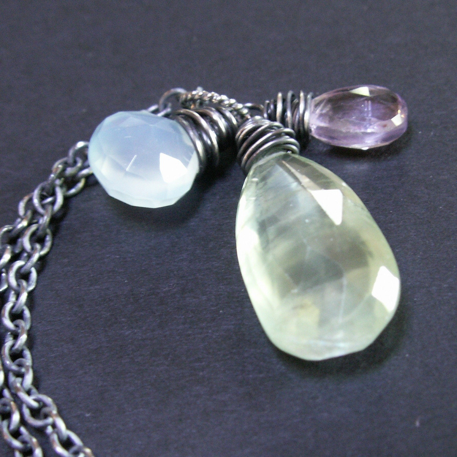 handcrafted jewelry necklace sterling silver oxidized prehnite chalcedony amethyst
