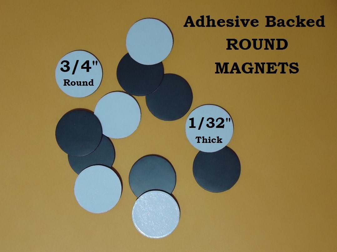 50 3 4 round coin magnet adhesive backs diy craft button for Thin magnets for crafts