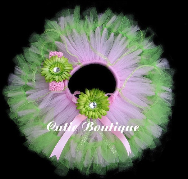 Pink Green Petti Tutu Headband Set ----- All Sizes 6 9 12 18 24 Months 2T 3T 4T 5T--------Birthday, Photo, Holidays, Dress Up