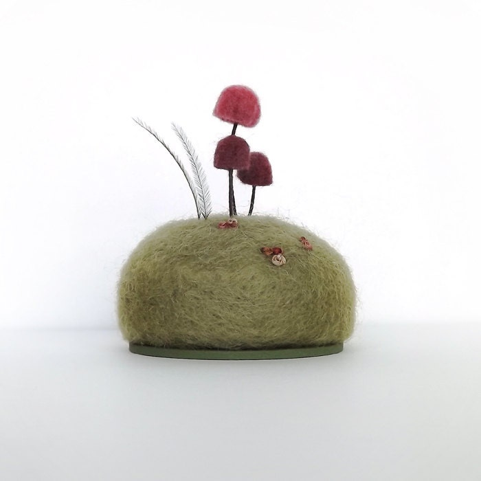 Mushrooms in Raspberry Nature Scene Home Decor Pincushion Made To Order - FoxtailCreekStudio