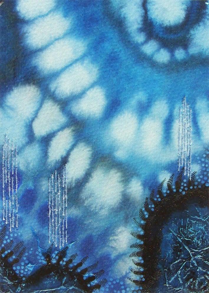 Monaco Blue Art painting, Original painting OOAK, abstract art  Mixed media - Rain