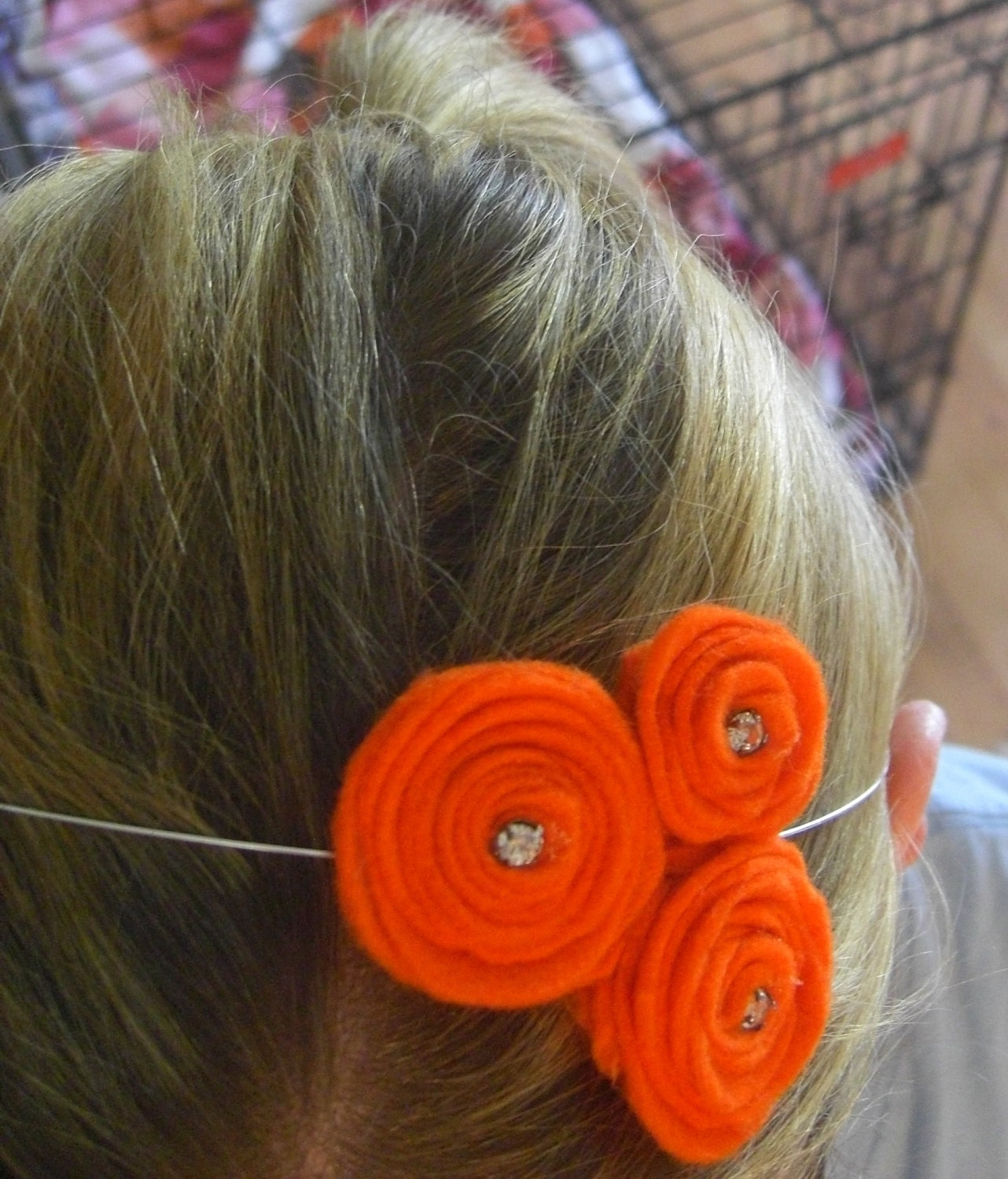 Triple orange felt flowers with vintage rhinestones Headband  It can also be worn in an updo and as a necklace.