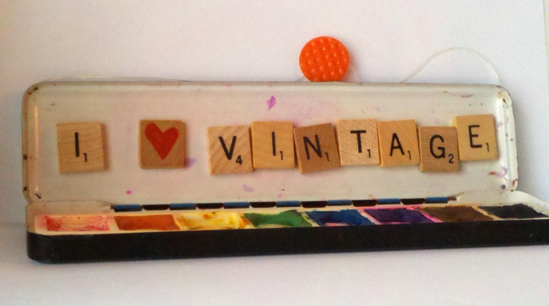 I heart vintage original upcycled art - vintage water color tin scrabble tiles found item assemblage
