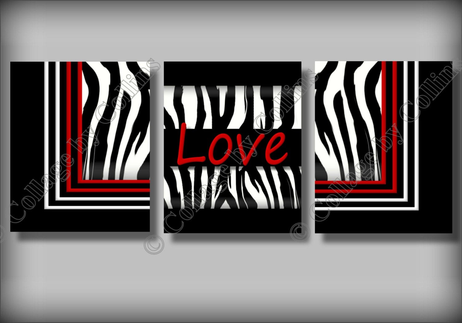Red Zebra Print Wall Art Decor Love Girl Room By