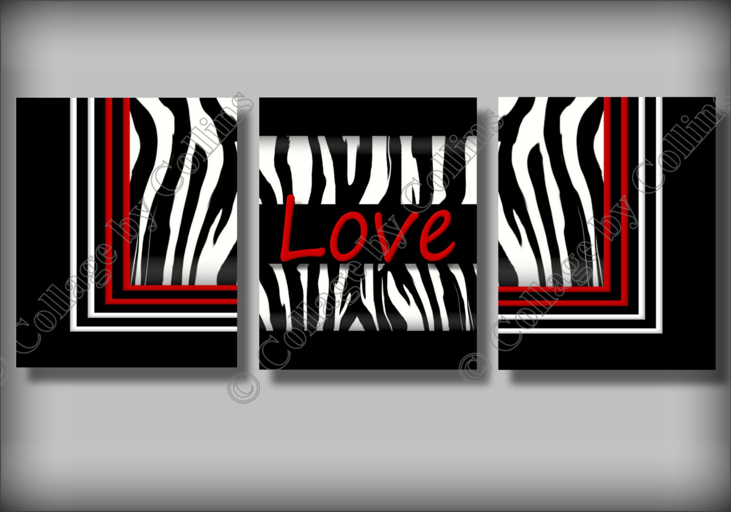 Red zebra print wall art decor love girl room by for Zebra print and red bathroom ideas
