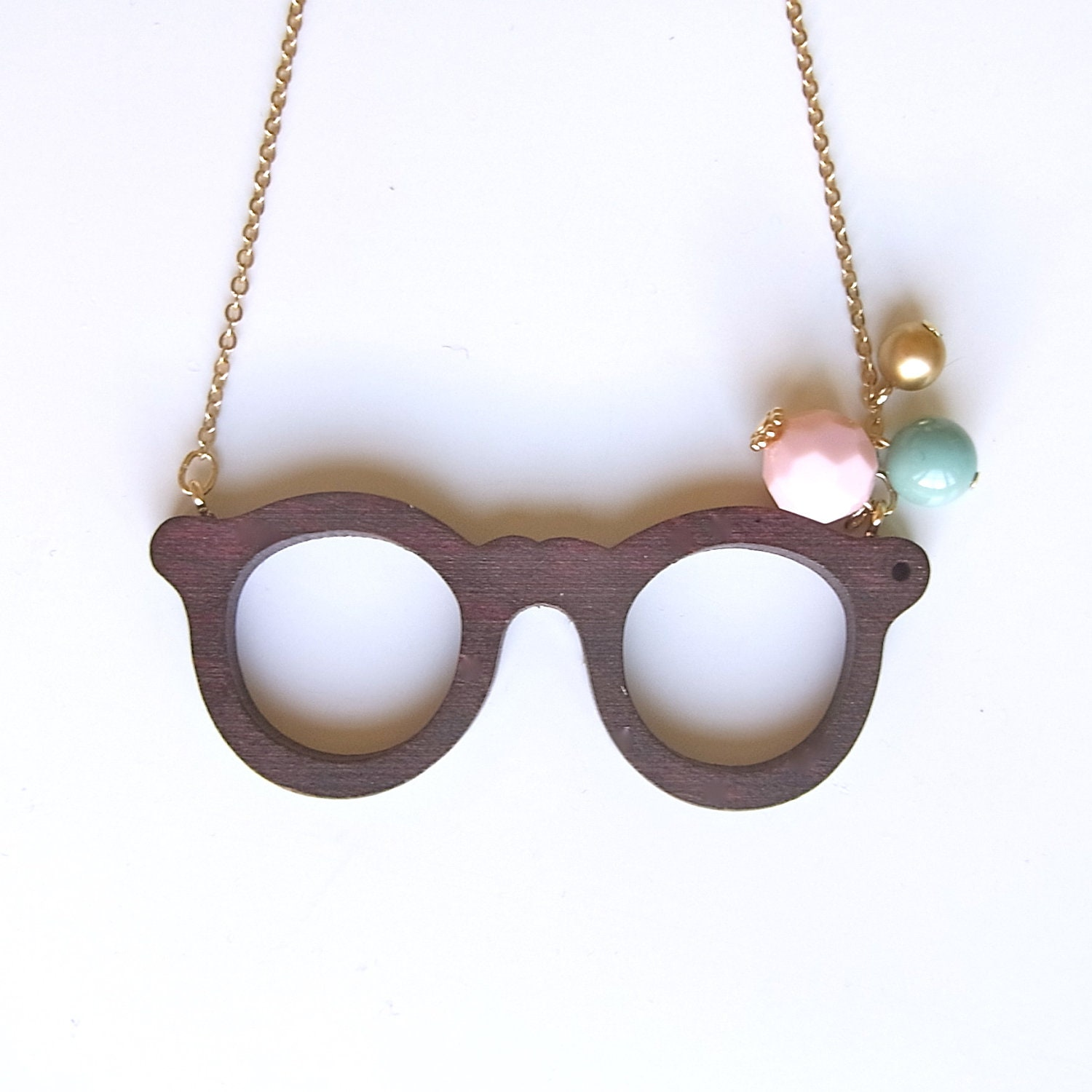 Wooden Glasses Necklace
