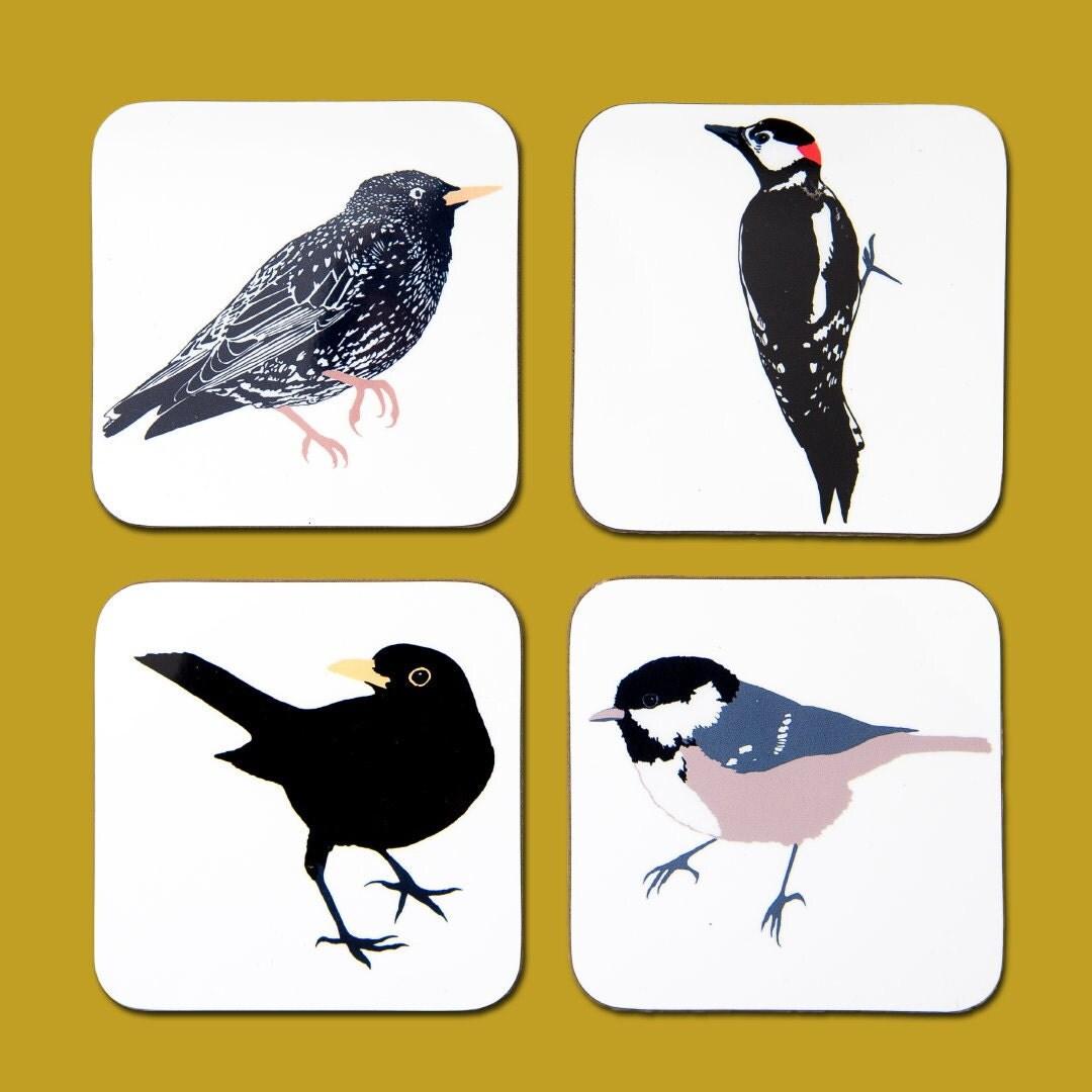 British Woodland Bird Coaster Set  woodpecker  coal tit  starling  blackbird  bird print  screen print  animal coaster  drinks mat