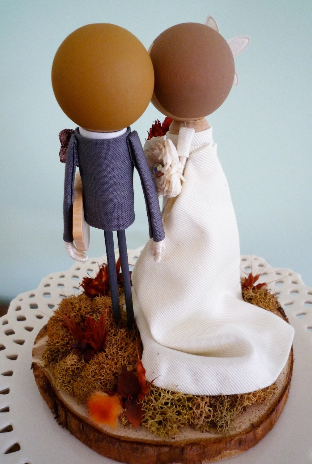 Custom Keepsake Fall Wedding Cake Topper with Custom Wedding Dress