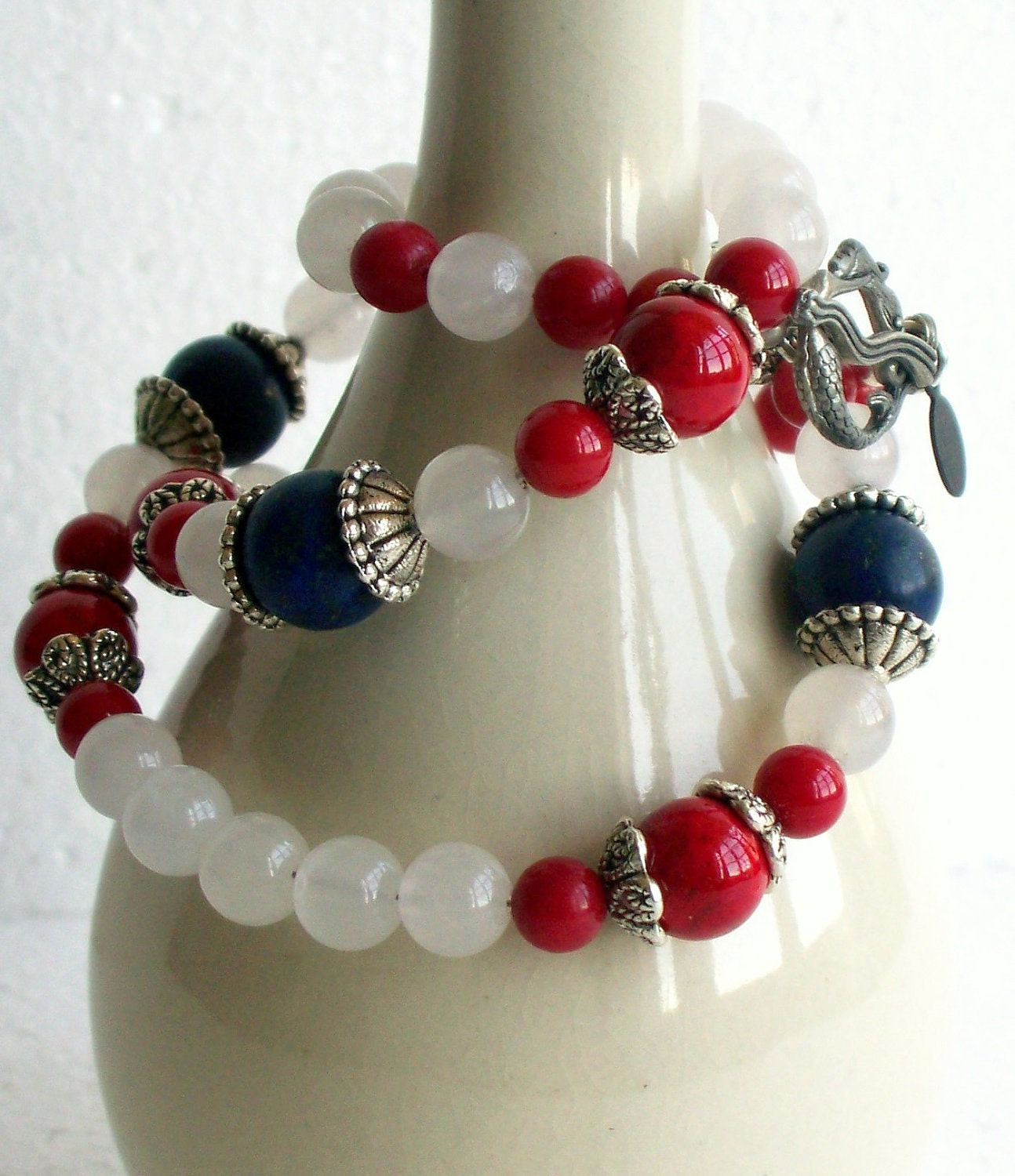 Red Coral, White Snow Quartz and Blue Lapiz Necklace - FREE SHIPPING