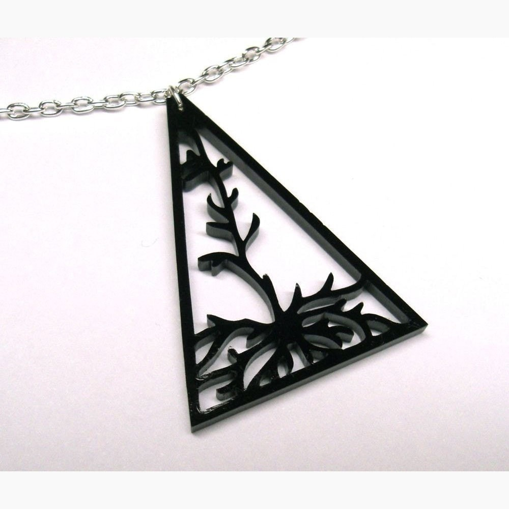 Pyramidal - pyramidal neuron necklace in black