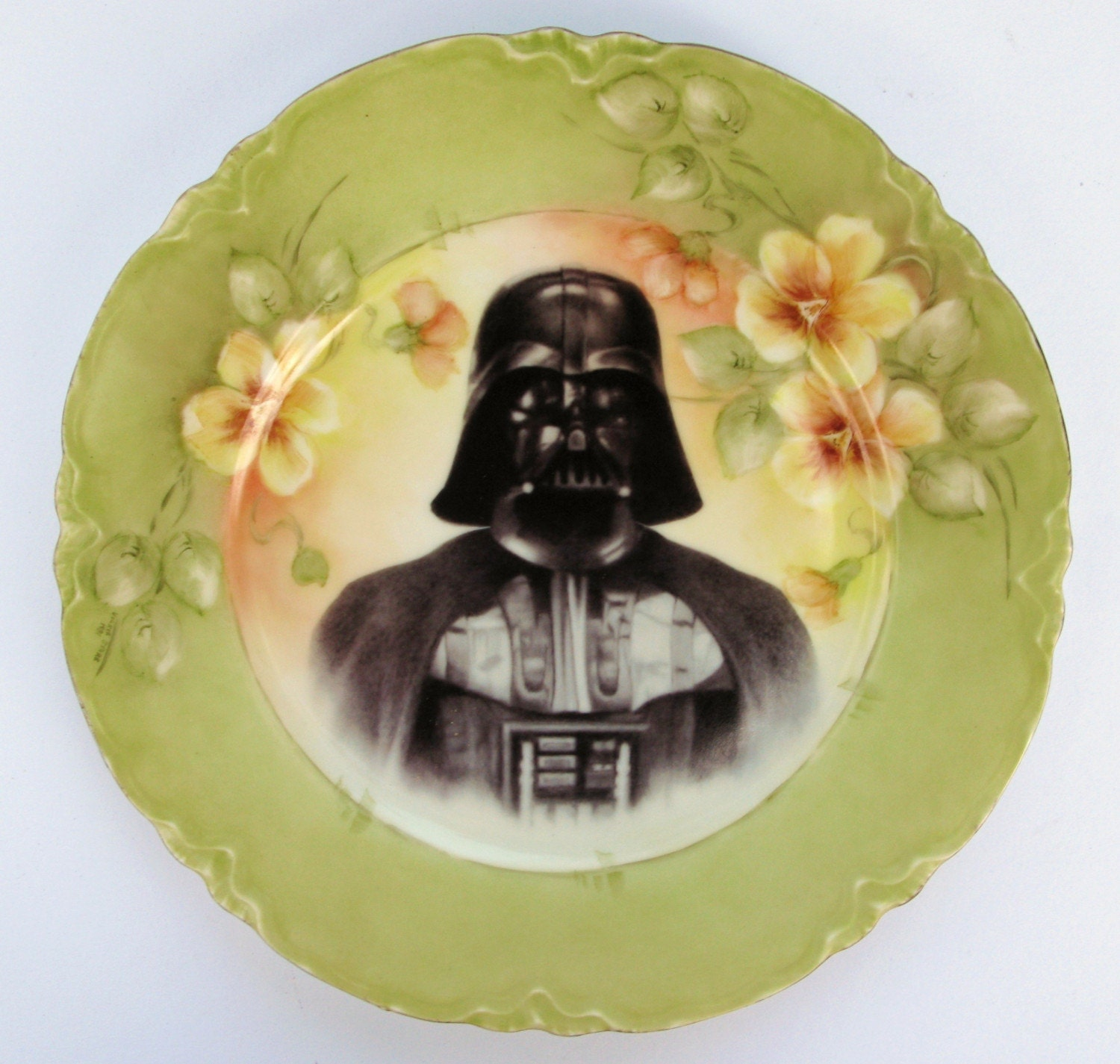 Dark Lord, Darth Vader Portrait Plate - Altered Antique Plate - BeatUpCreations on Etsy