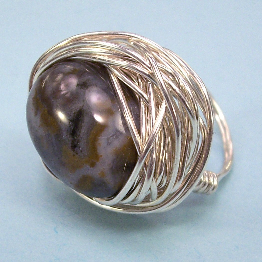 Stormy Ocean Jasper Nest Ring By Dashery Jewelry on Etsy
