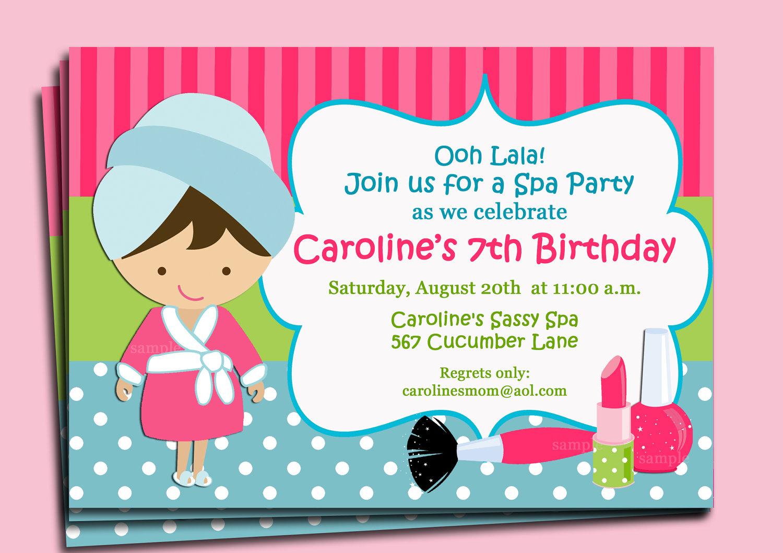printable spa birthday party invitations - Ideal.vistalist.co