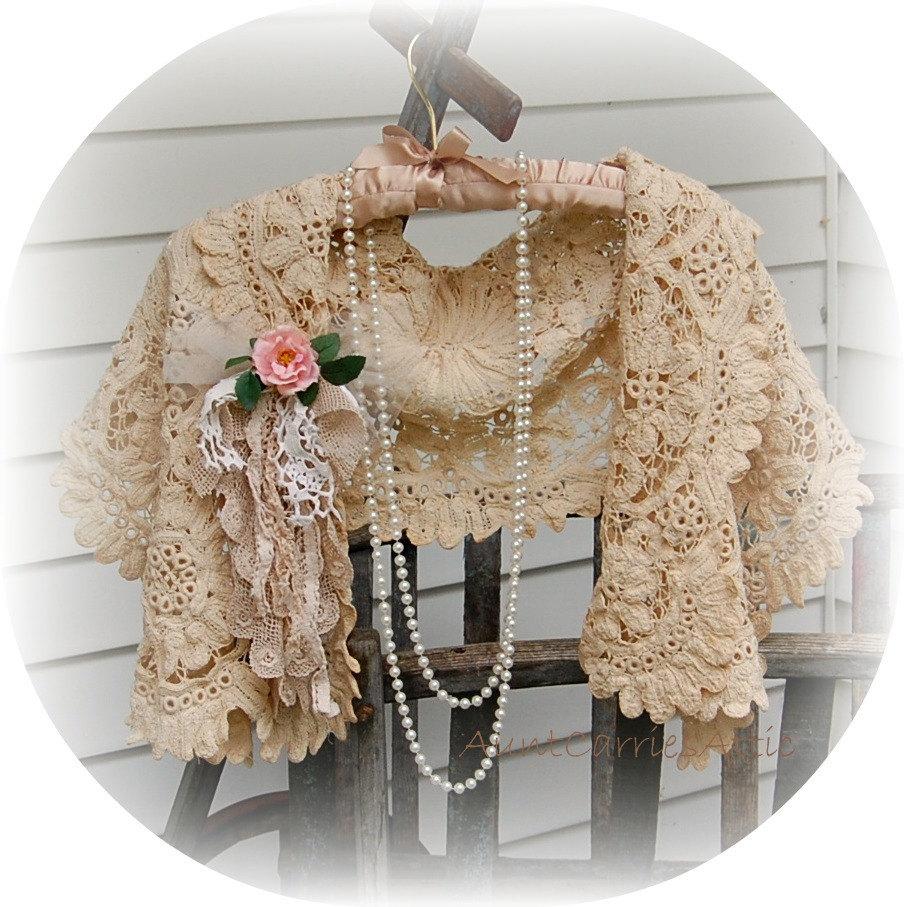 Antique Lace Shawl Battenburg Heavy Embroidered Boho Beach Wedding - auntcarriesattic