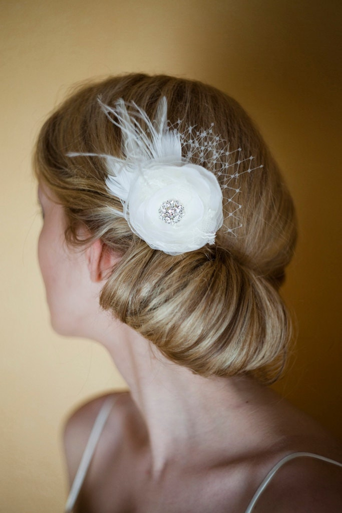 Bridal Ivory Flower Hair Accessories : Bridal hair accessories fascinator ivory by