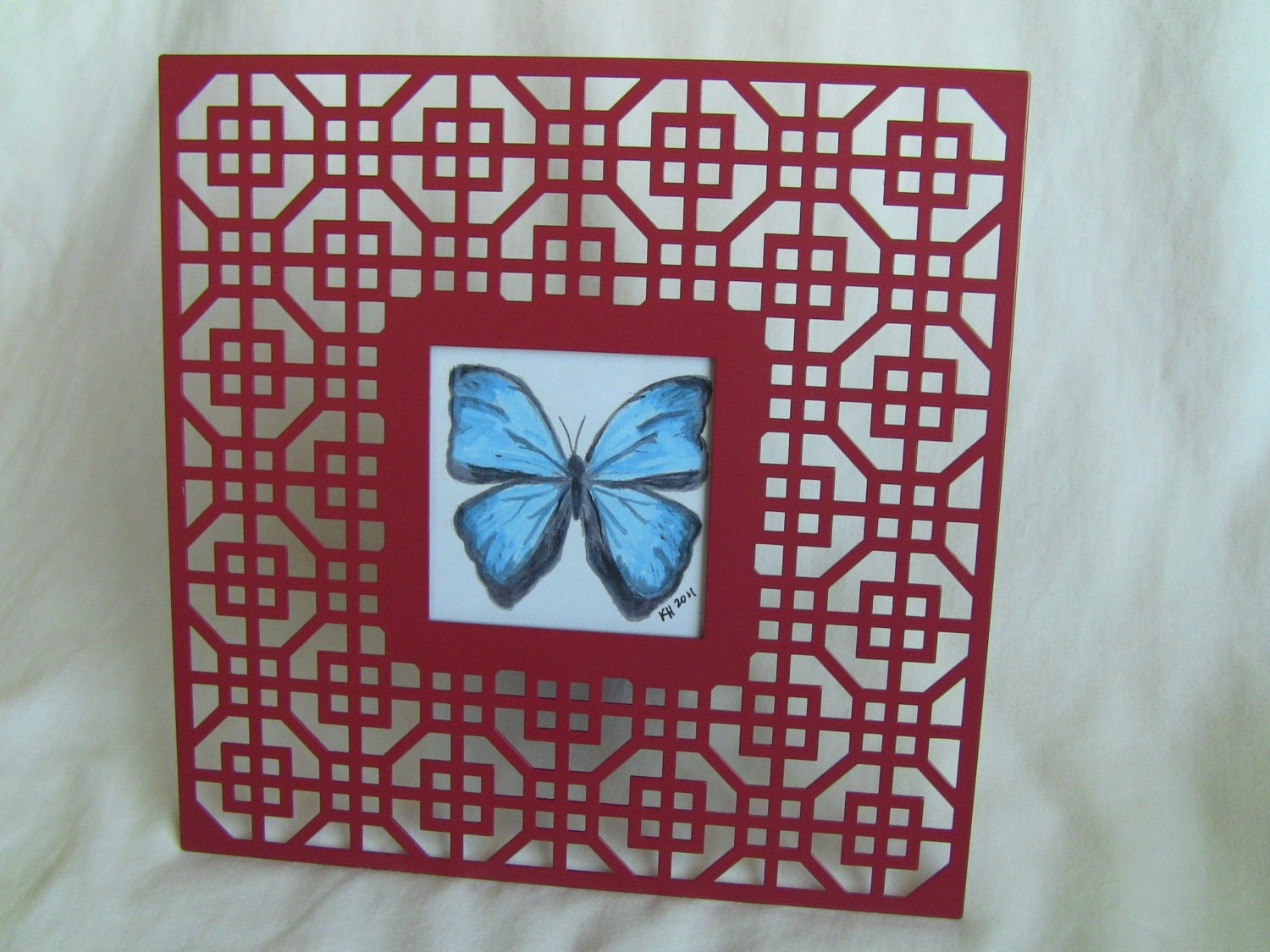 Hand-painted blue butterfly, art deco red frame, butterfly image square  2.5 x 2.5