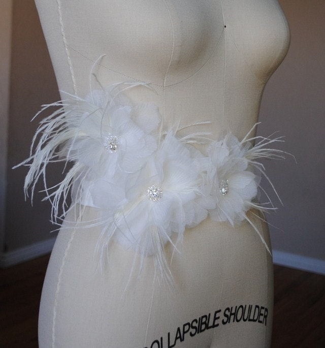 Tulle and Organza Bridal Sash Centered with a Cluster of Swarovski Rhinestone Piece and Soft Ostrich Feathers, Available in Black, Ivory, White and Diamond White