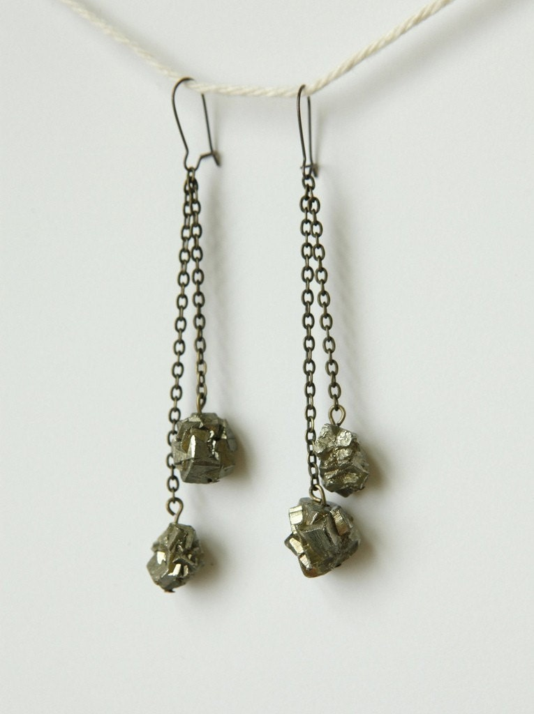 fools gold pyrite statement earrings