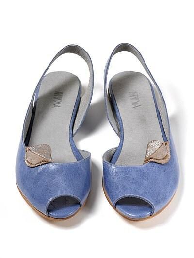 Light Blue Flat Sandals -  Virginia