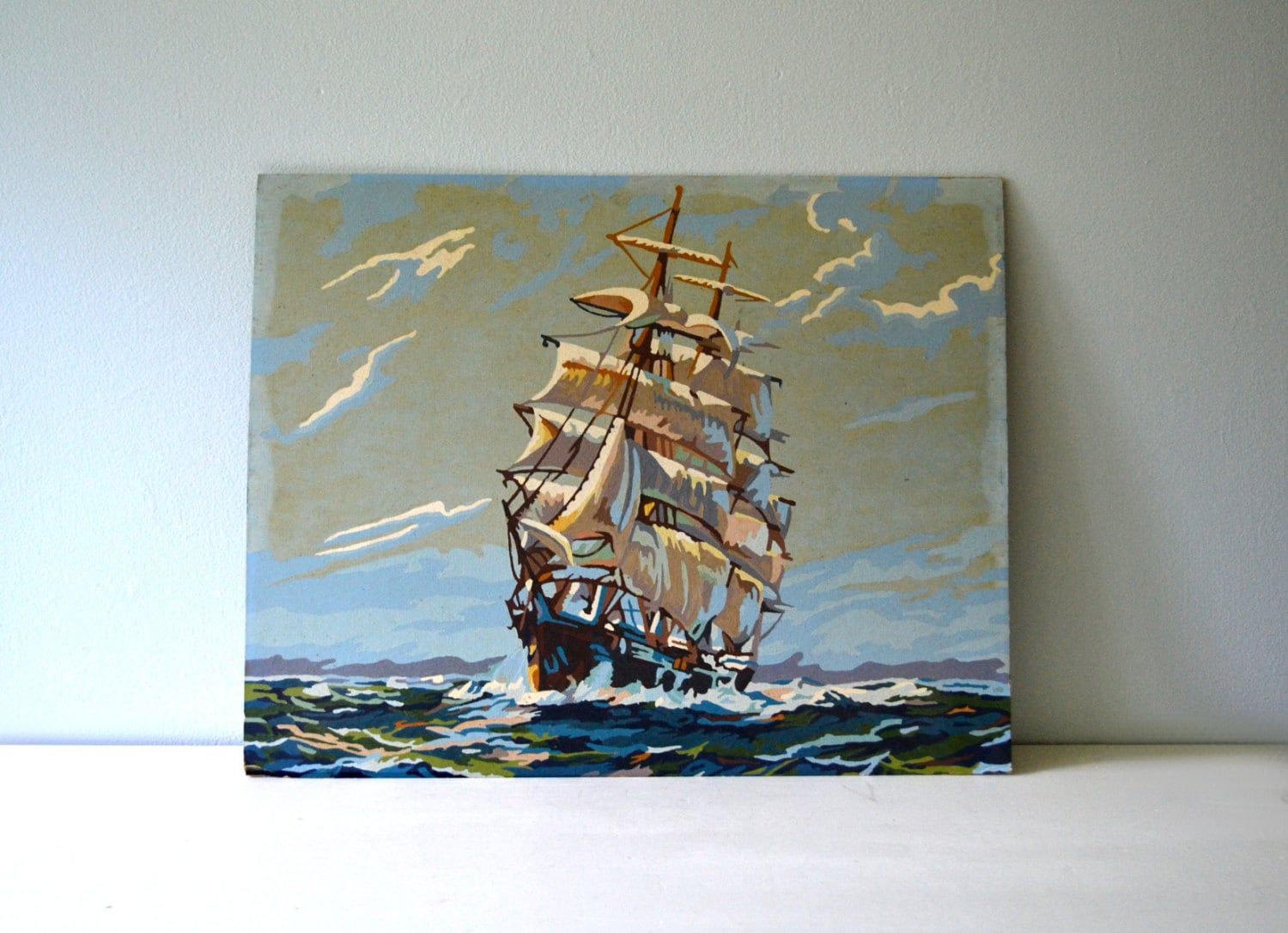 Vintage Ship Painting Paint By Number Pbn By Saltandginger