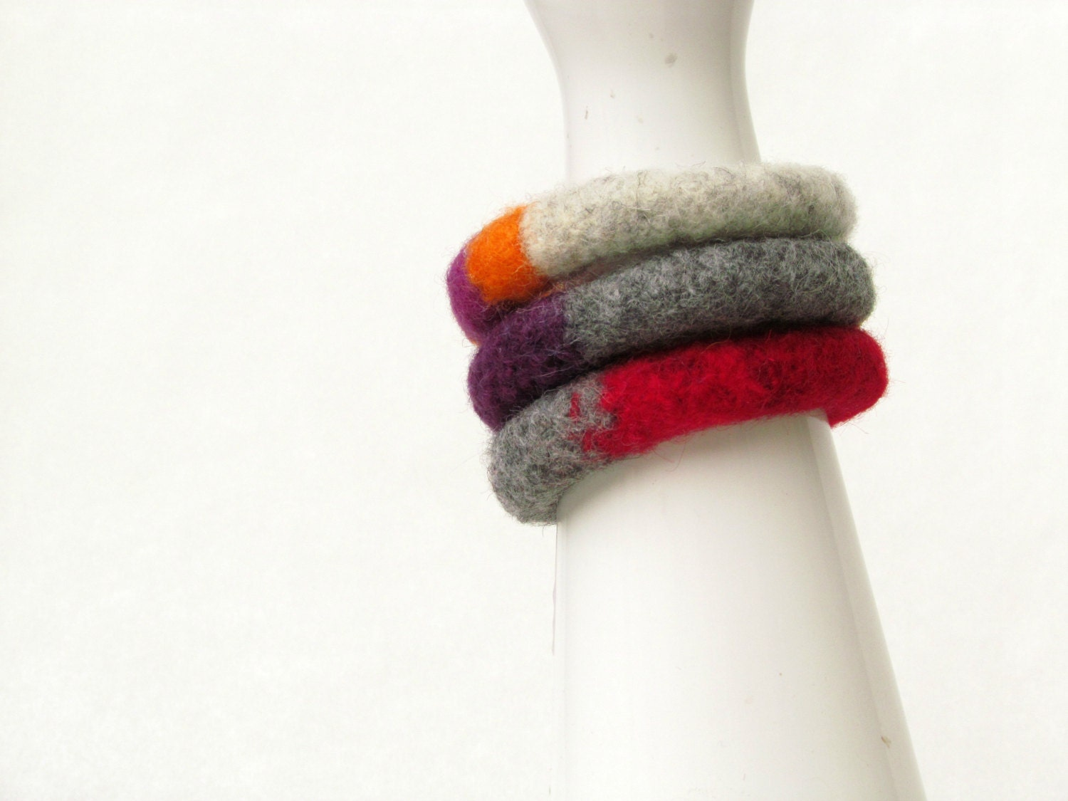 Stacking felt bangles - Set of three - red grey orange mustard purple - eco-friendly - Winter accesories wool - soft jewelry