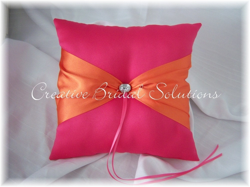 Fuchsia Pink Orange Wedding Ring Bearer Pillow