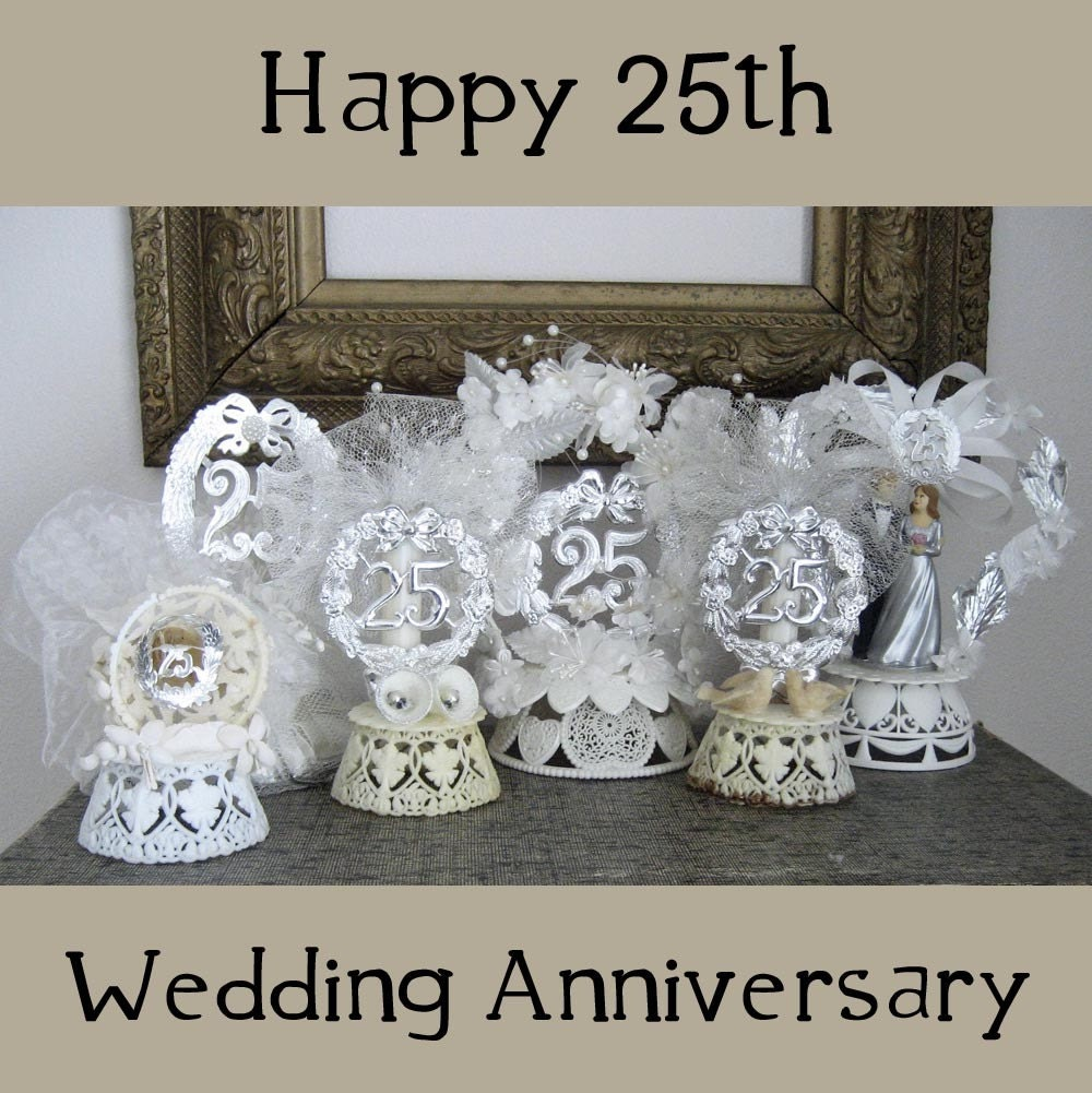 6 Vintage Cake Toppers 25th Wedding Anniversary By RememberMeEmily