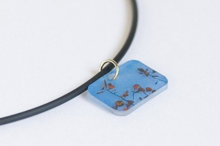 Etsy :: Blue skies and Leaves necklace