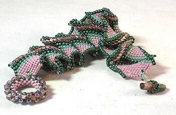 Orange Purple Lamwork Glass Bead Beaded Beadwoven  Cuff Bracelet