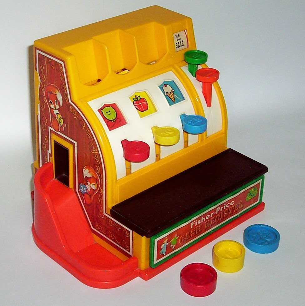 Vintage 1974 fisher price cash register with 3 by retroclassics