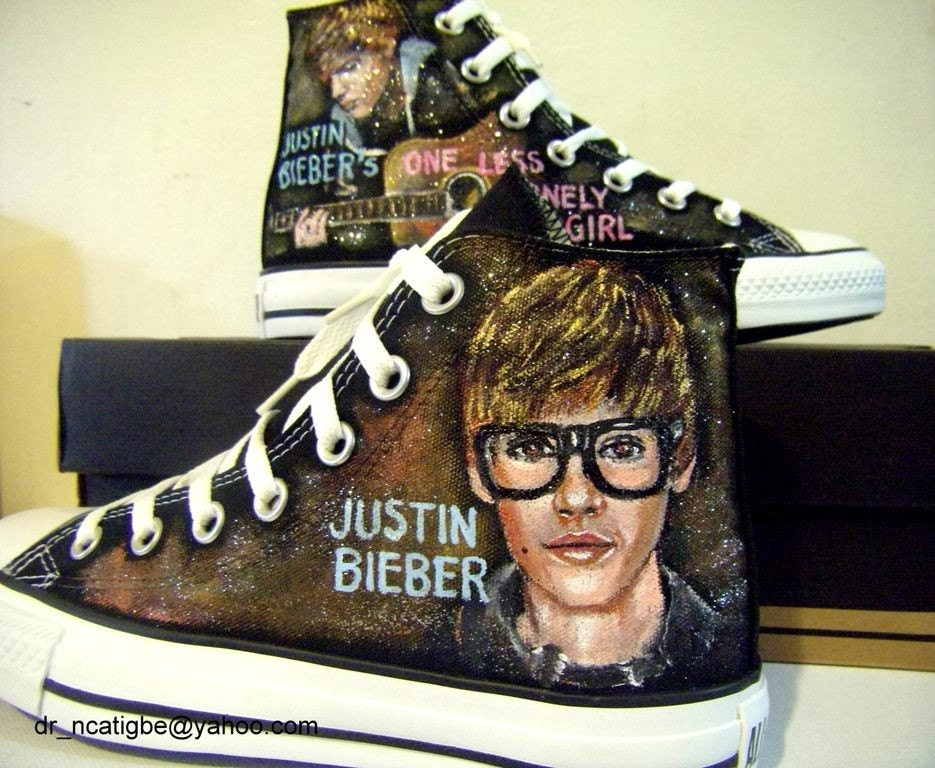 Justin Bieber personalized and hand painted Converse