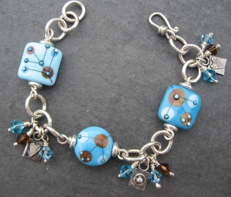Sale Blue Beads Charm Bracelet