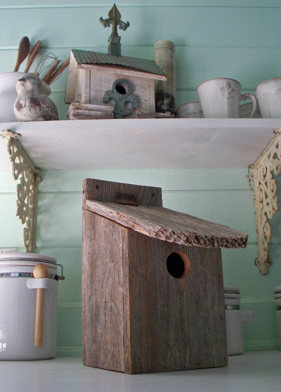 Items similar to rustic old barn wood bird house so cute - Old barn wood bird houses ...