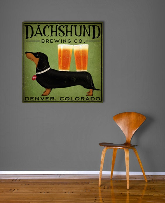 DACHSHUND Wiener Dog Brewing Company graphic art Stretched Canvas Wall Art  24x24x1.5 inches SIGNED - nativevermont