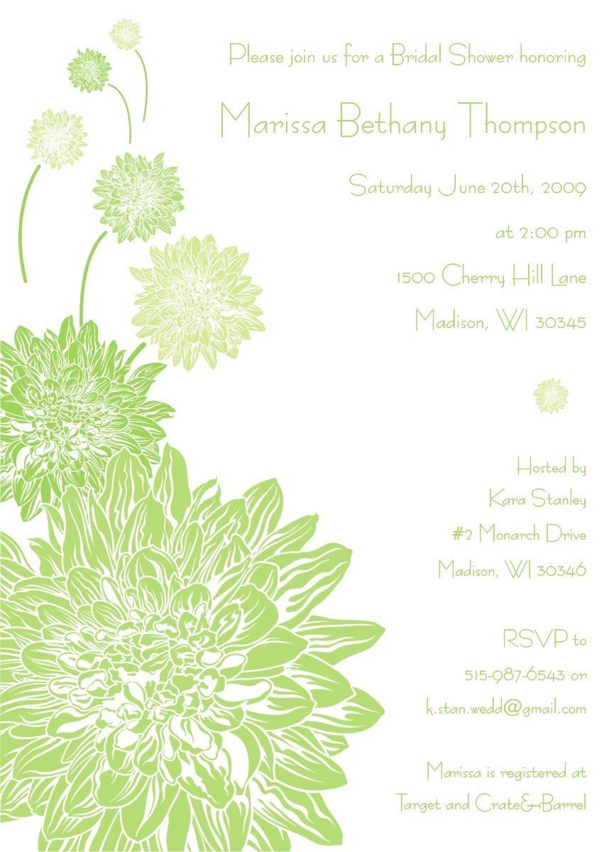 SALE - Bridal Shower Invitations - Modern Dahlia Flower (set of 30), Custom, Personalized, Garden, Spring, Green, Leaf, Moss