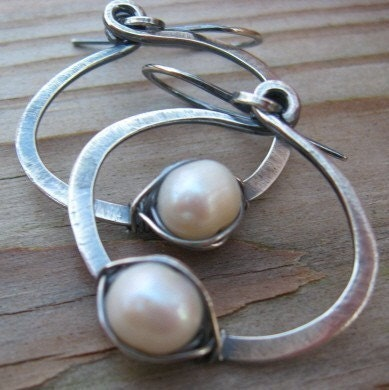 BUY 2 GET 1 FREE WEEKEND - ALL ITEMS - Artisan Forged Sterling and Pearl Hoops