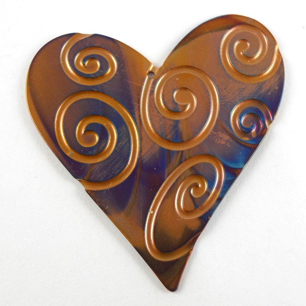 Pendant Size Spiral Pattern Copper Heart