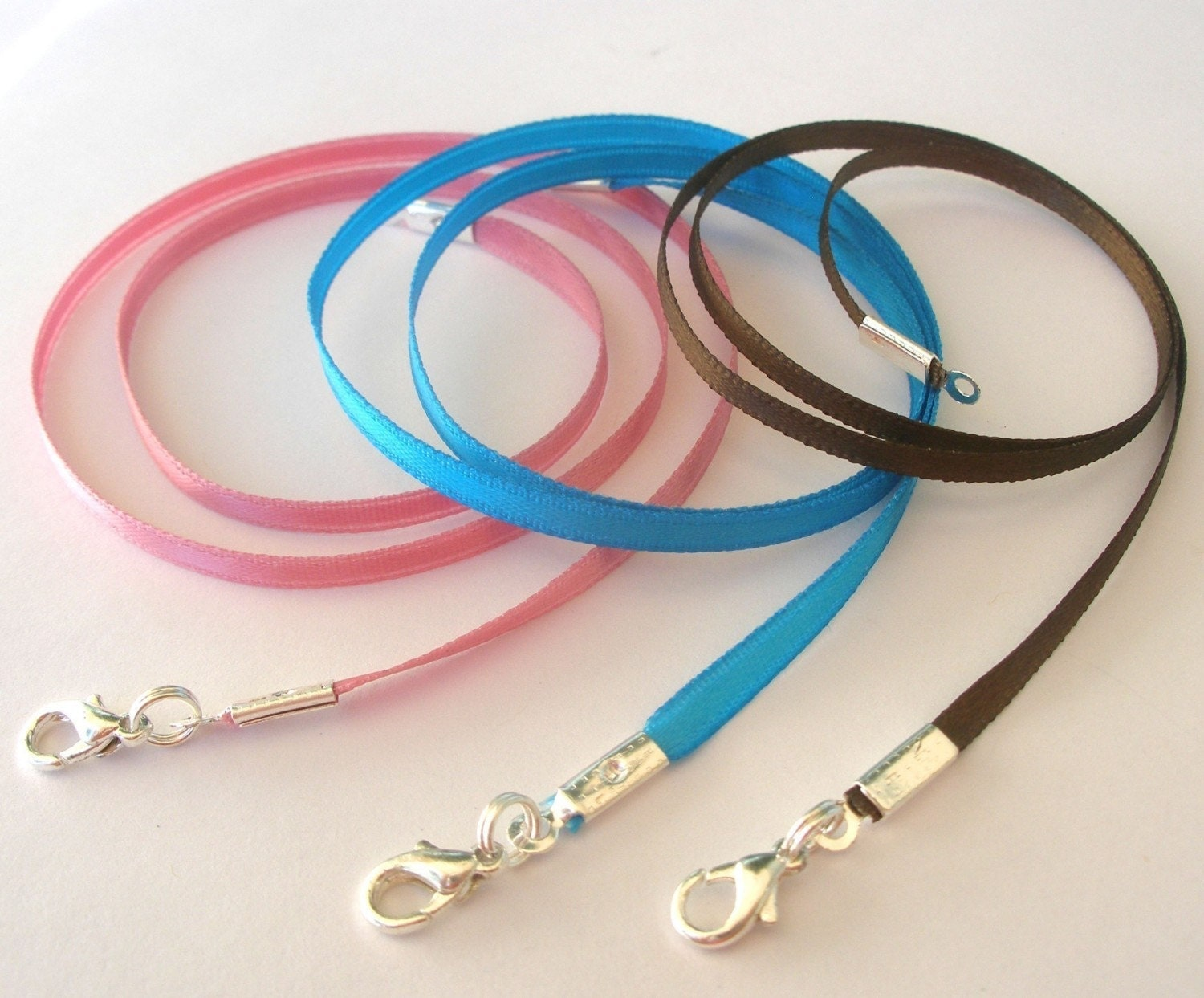 100 - Satin Necklace Cords - Any Length, 21 Colors - Use w/Scrabble/Glass Tile Pendants and all Aanraku bails.